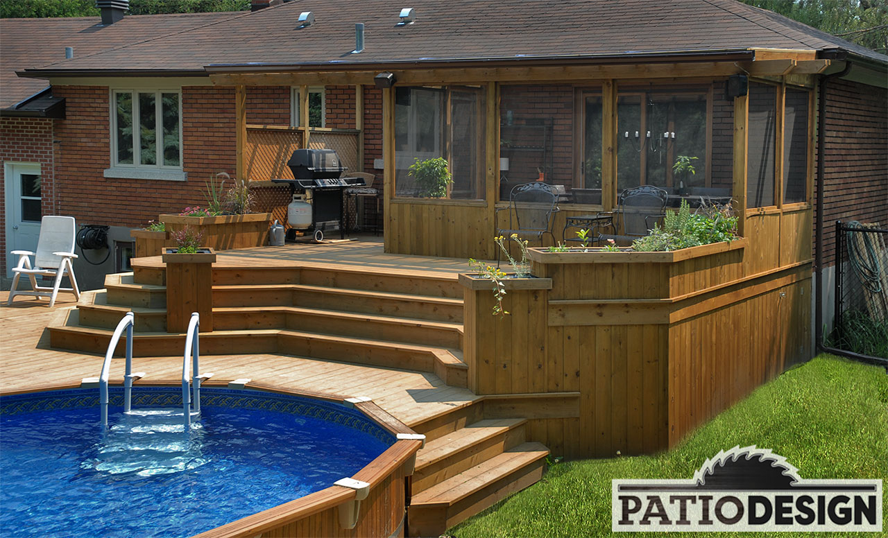 Patio design patios avec piscine hors terre les for Patio exterieur modele